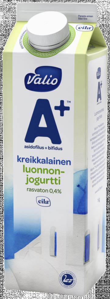 Valio A+™ kreikkalainen luonnonjogurtti 1 kg rasvaton laktoositon